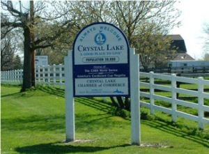 Welcome to Crystal Lake sign